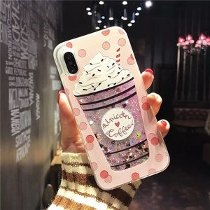 iPhoneX pink milkshake glitter sands phone case